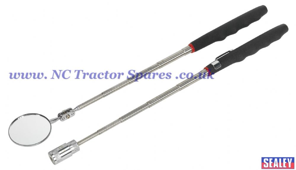 Telescopic Magnetic LED Pick-Up Tool & Inspection Mirror Set 2pc